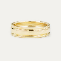Classic Grooved Dome Wedding Band 6MM - Yellow Gold
