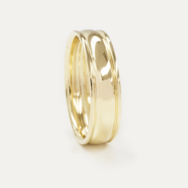 Classic Double Groove Wedding Band - 6 MM - Sample