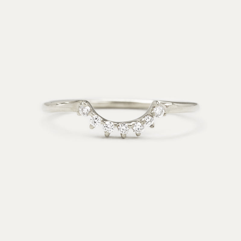 Crescent Diamond Wedding Ring