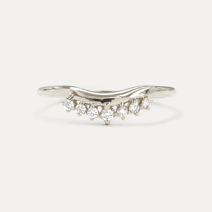 Crown Diamond Curved Wedding Ring