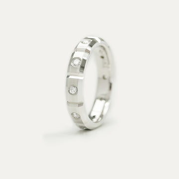 Diamond Burnished Eternity Wedding Band