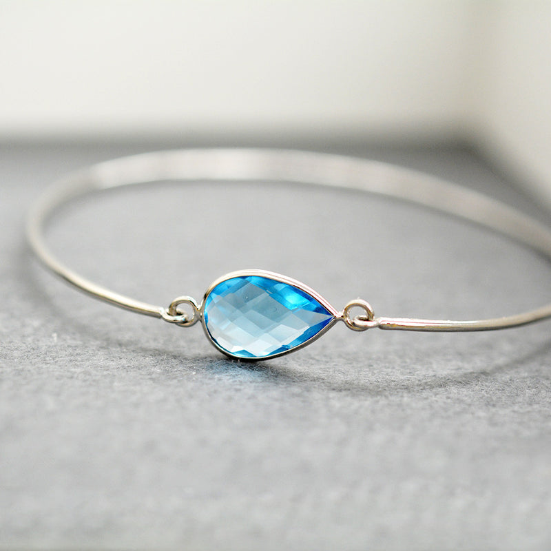 Pear Shaped Blue Topaz Bangle One of a Kind - A Gilded Leaf jewelry