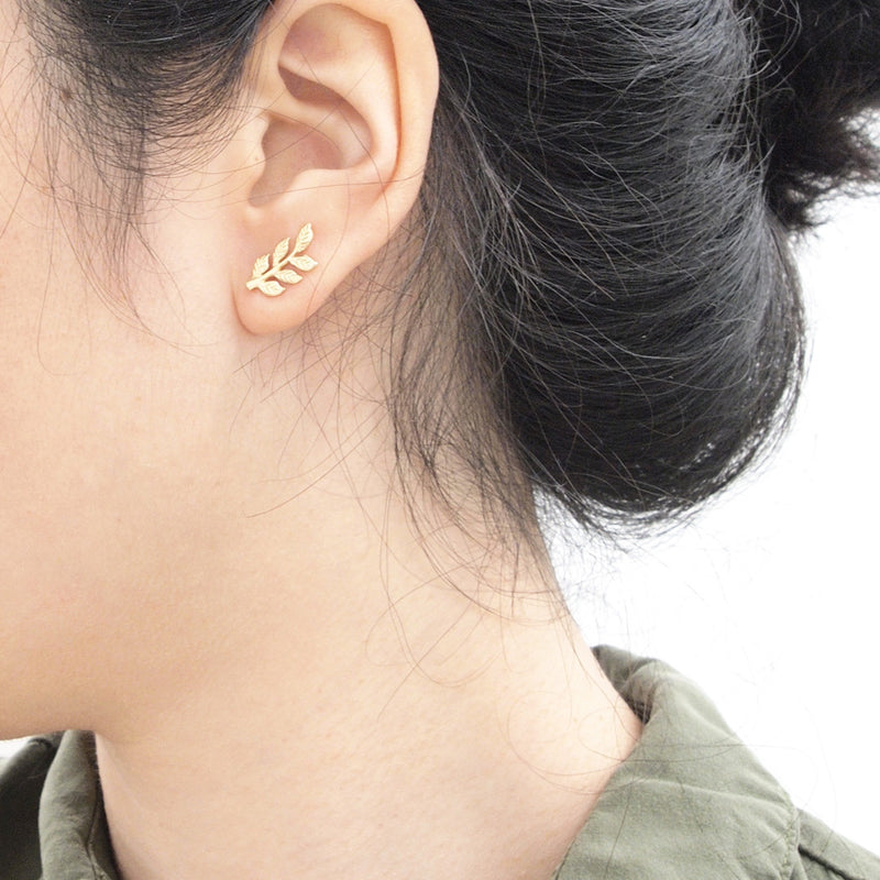 Leaf Stud Ear Climbers Earrings - A Gilded Leaf jewelry