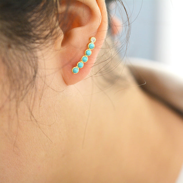 Turquoise Bubble Ear Climbers Earrings - A Gilded Leaf jewelry