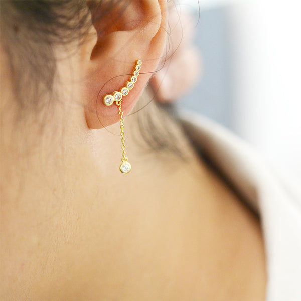 Graduated Bubble Drop Ear Climbers - Sterling Silver Earrings - A Gilded Leaf jewelry