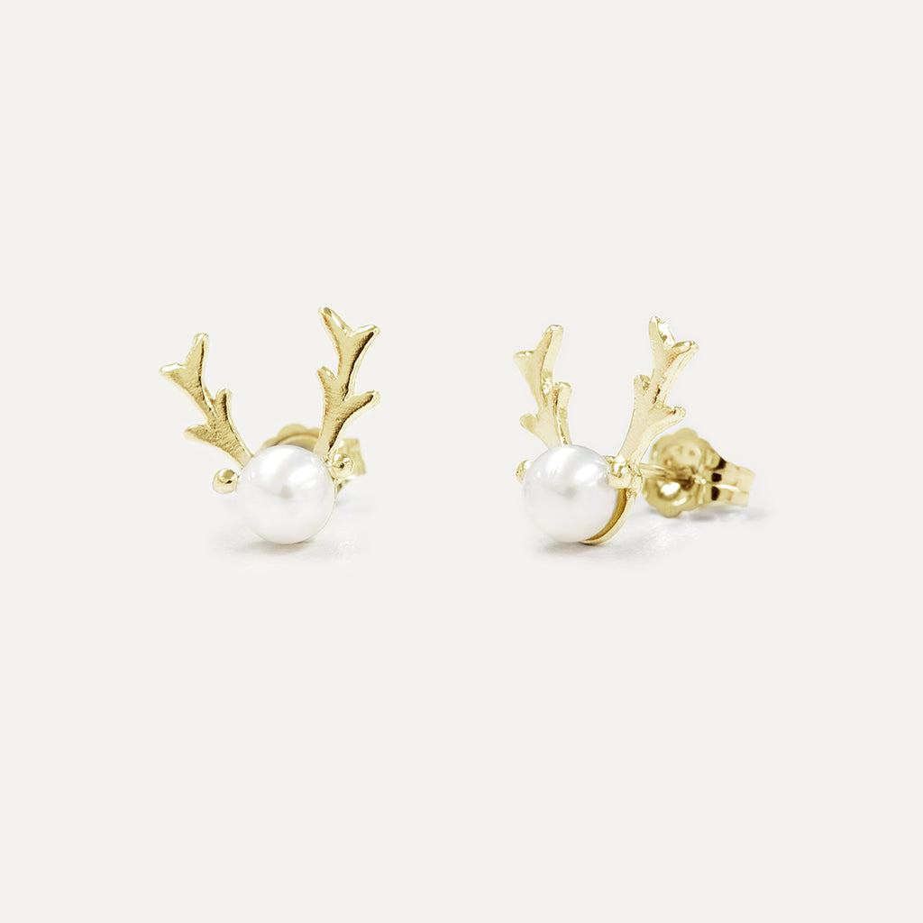 Reindeer Pearl Earrings Earrings - A Gilded Leaf jewelry