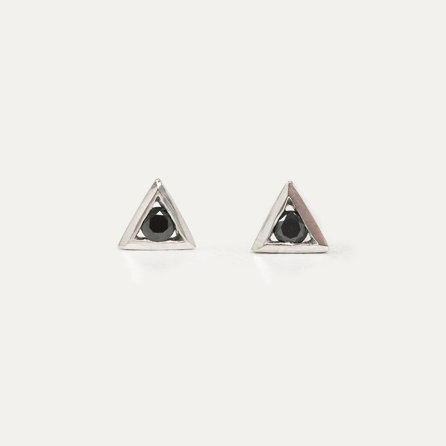 Black Diamond Triangle Earrings