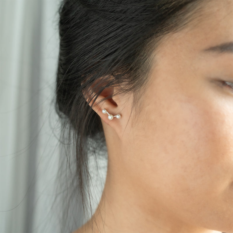 Stellar Three Pearl Earrings