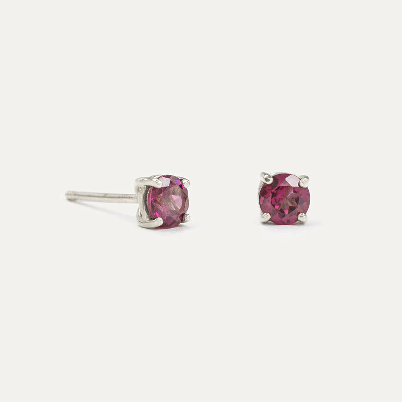 3MM Rhodolite Garnet Sparkler Earrings