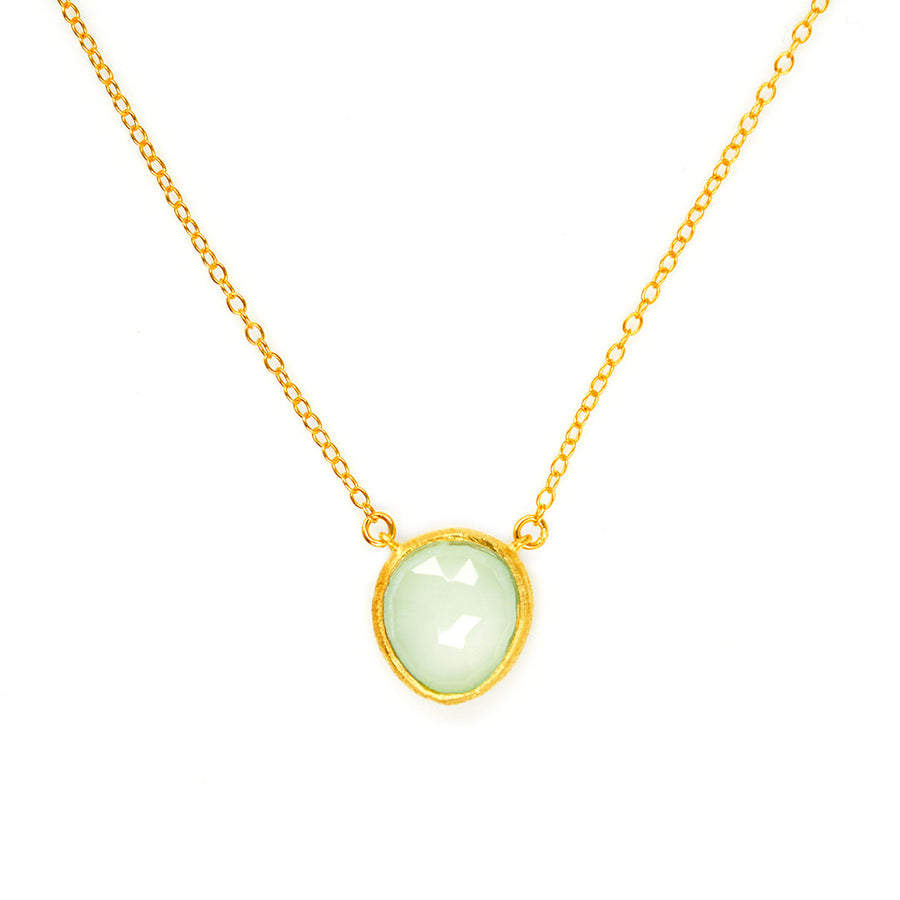 Aqua Quartz Bauble Necklace - Small Necklace - A Gilded Leaf jewelry