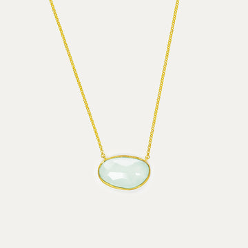 Aqua Quartz Bauble Necklace - Large Necklace - A Gilded Leaf jewelry