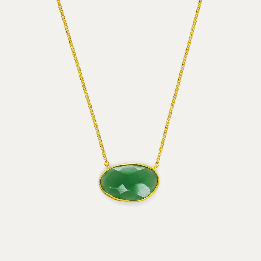 Green Quartz Bauble Necklace - Large Necklace - A Gilded Leaf jewelry