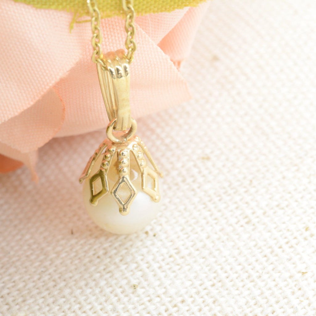 Delicate Pearl Drop Necklace One of a Kind - A Gilded Leaf jewelry
