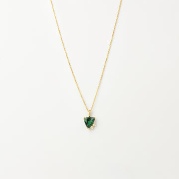 Emily Necklace in 14K Yellow Gold with 1.44ct Trillion Forest Green Tourmaline
