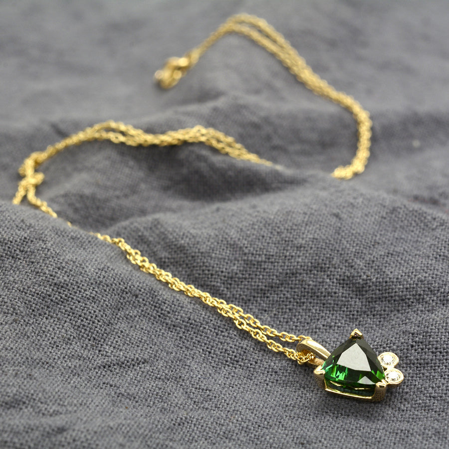 Emily Necklace in 14K Yellow Gold with 1.44ct Trillion Forest Green Tourmaline One of a Kind - A Gilded Leaf jewelry