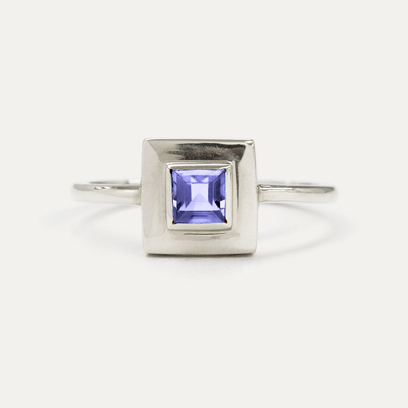 Princess Cut Iolite Square Ring - Sample