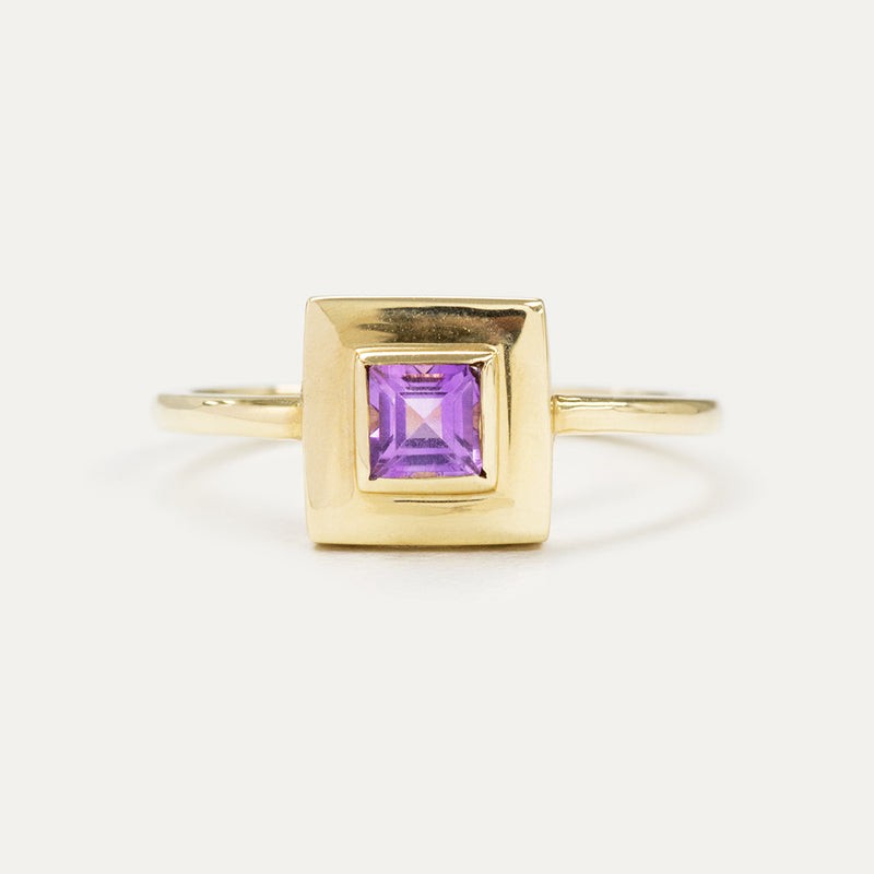 Princess Cut Amethyst Square Ring - Sample