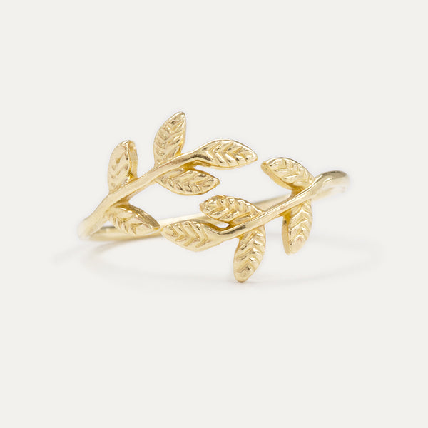 Olive Double Leaf Ring Rings - A Gilded Leaf jewelry