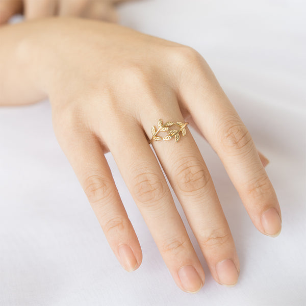 Olive Double Leaf Ring