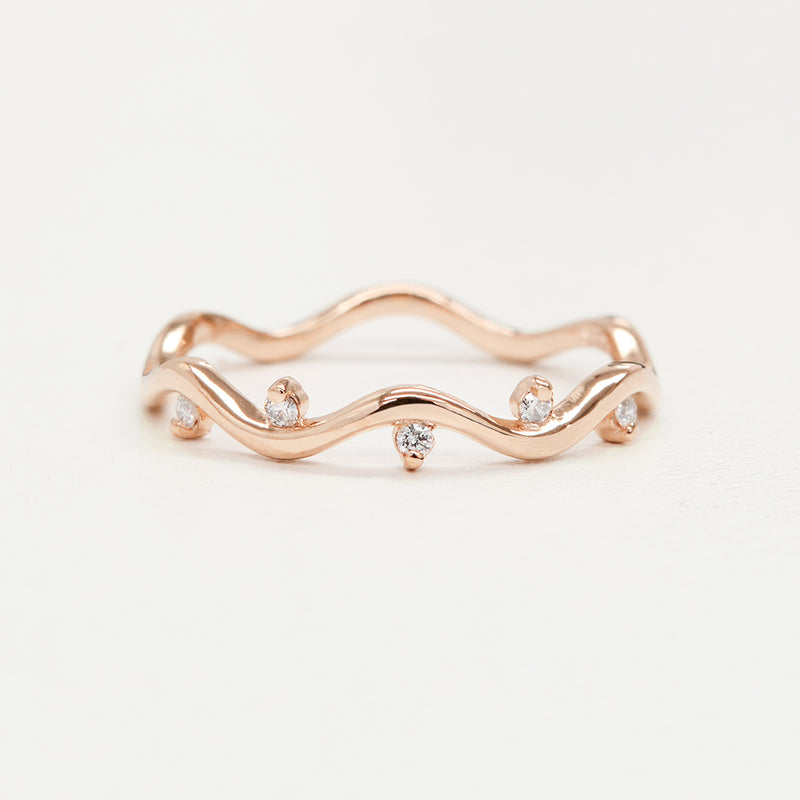 Diamond Wavy Ring Rings - A Gilded Leaf jewelry