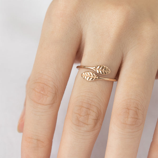 A Gilded Leaf Open Ring - Sample