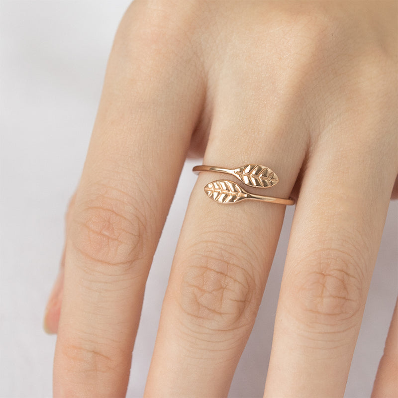 A Gilded Leaf Open Ring