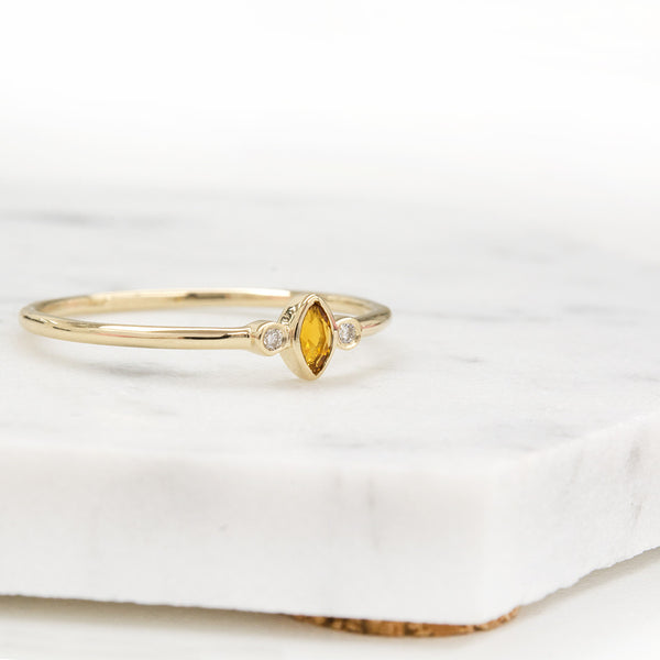 "Citrine ""Clementine"" Marquise Diamond Ring Rings - A Gilded Leaf jewelry"