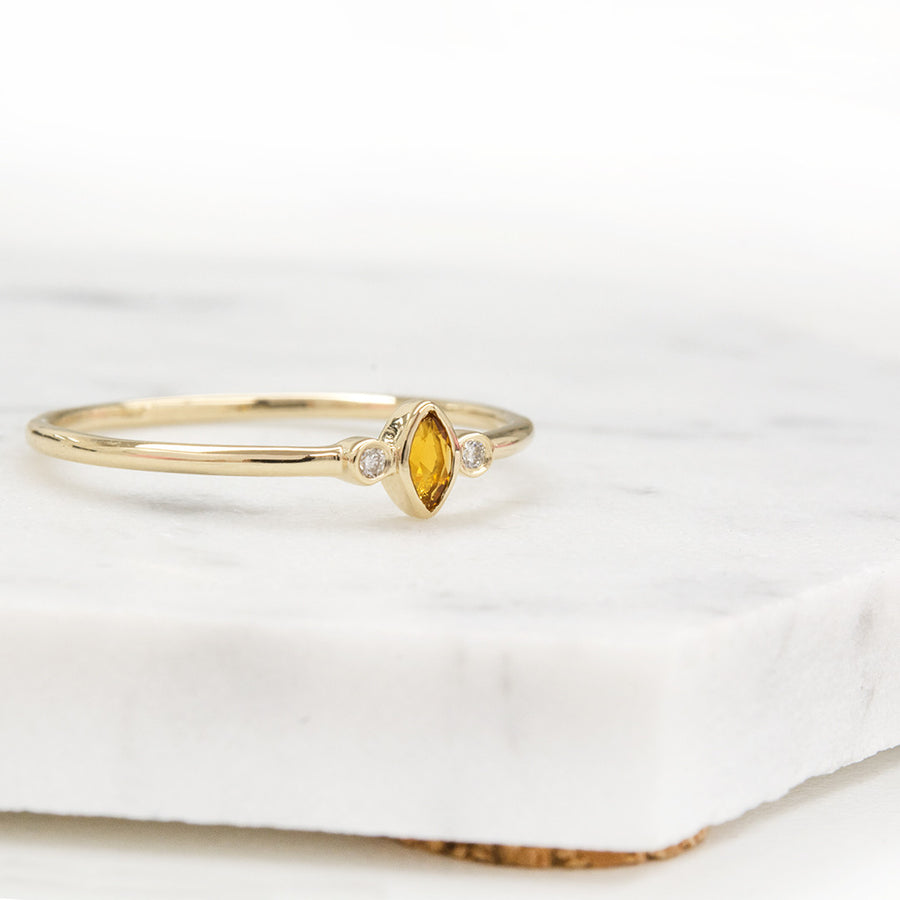 "Citrine ""Clementine"" Marquise Diamond Ring"