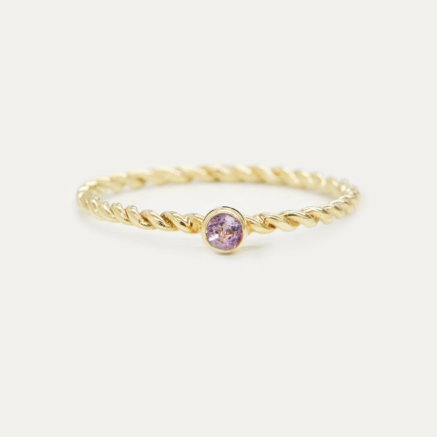 Twister Bezel Stacker Ring - Amethyst