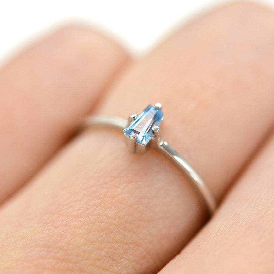 Beau Blue Tapered Baguette Stone Ring