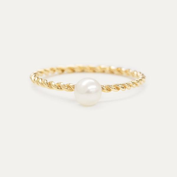 Oro Pearl Twisted Ring Rings - A Gilded Leaf jewelry