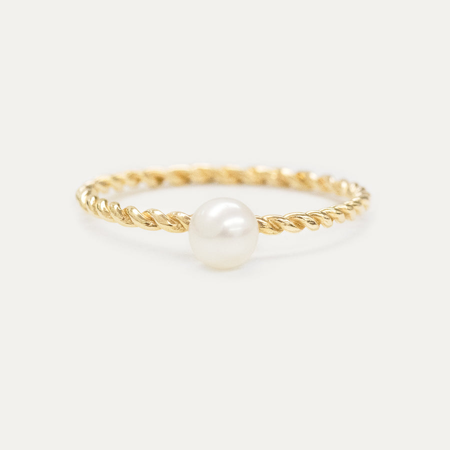 Oro Pearl Twisted Ring