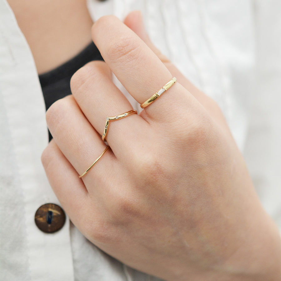 Diamond Baguette Ring Rings - A Gilded Leaf jewelry