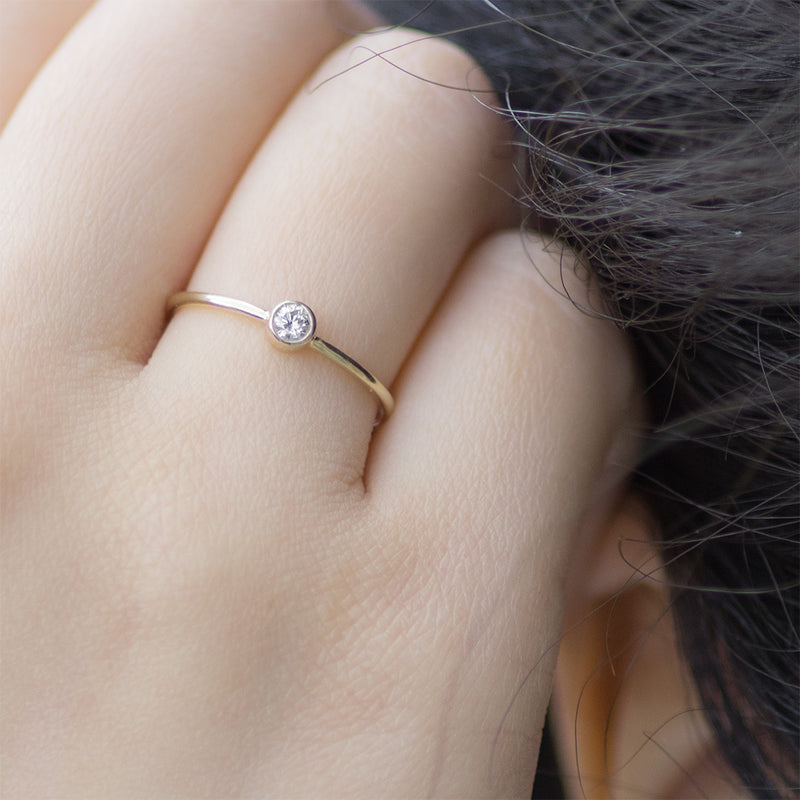 Bezel Set Diamond Ring Rings - A Gilded Leaf jewelry