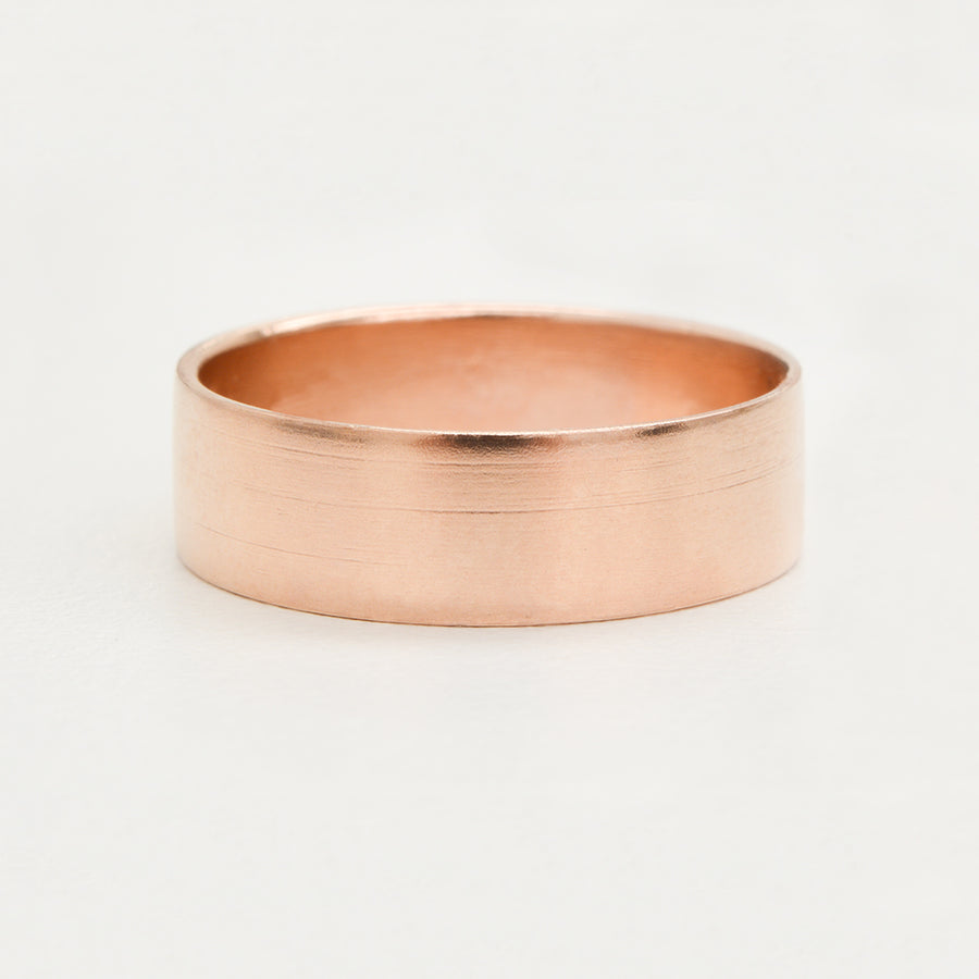 Contemporary Flat Wide Band 6MM - Rose Gold Rings - A Gilded Leaf jewelry