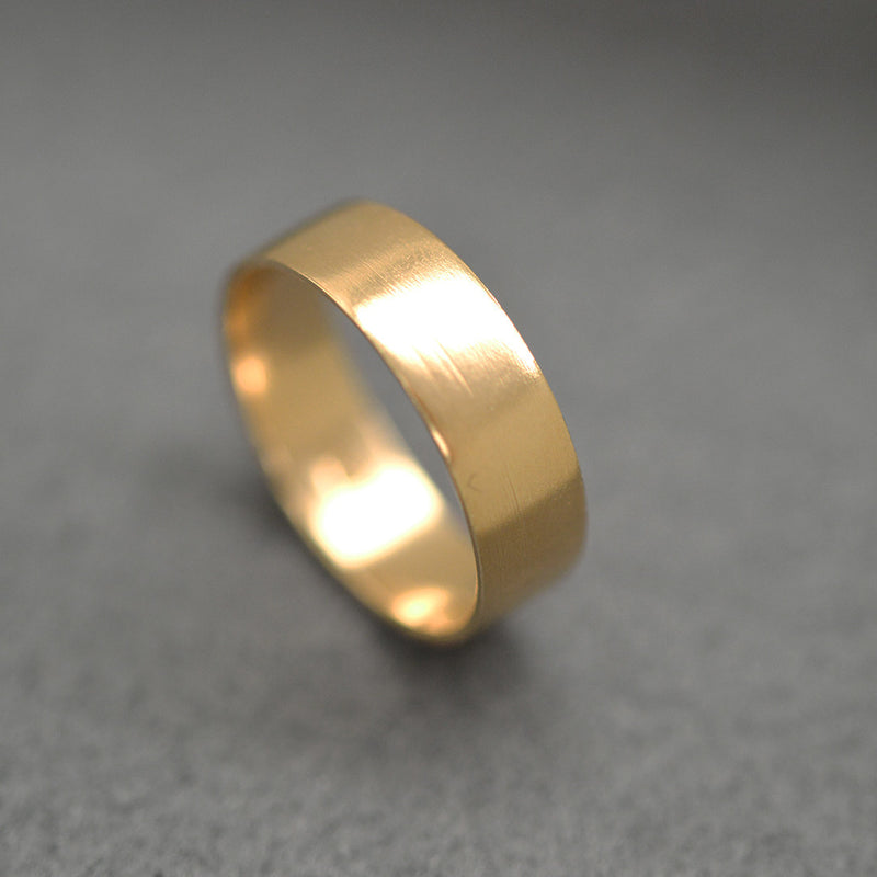 Contemporary Flat Wide Band 6MM - Yellow Gold Rings - A Gilded Leaf jewelry