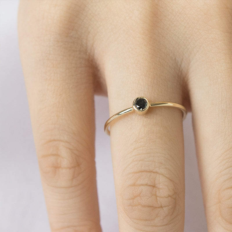 Bezel Set Black Diamond Ring
