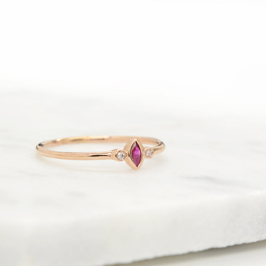 "Ruby ""Cherry"" Marquise Diamond Ring"