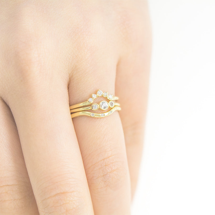 Curved Three Diamond Ring Rings - A Gilded Leaf jewelry
