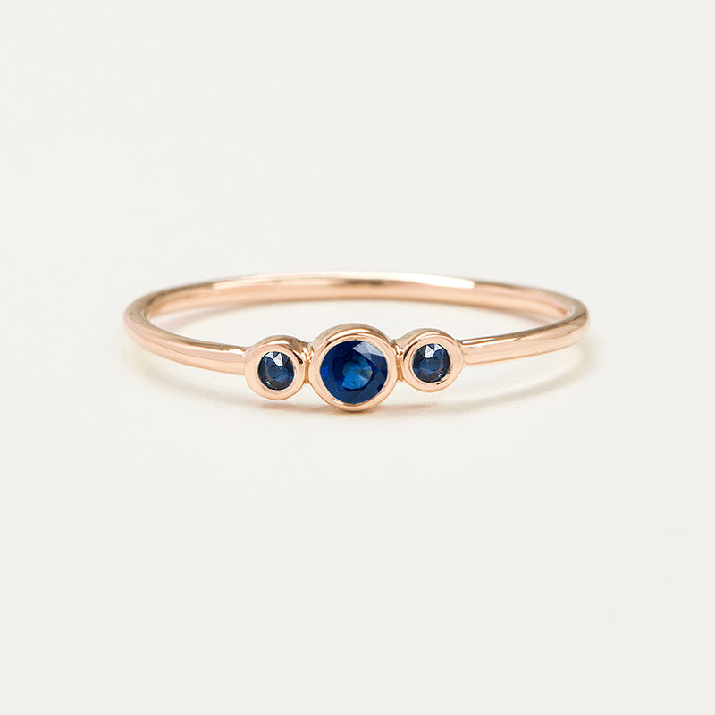 Three Stone Bezel Set Blue Sapphire Ring