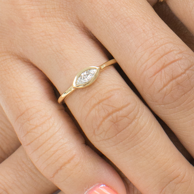 Maeve Diamond Marquise Ring Discontinued - Rings - A Gilded Leaf jewelry