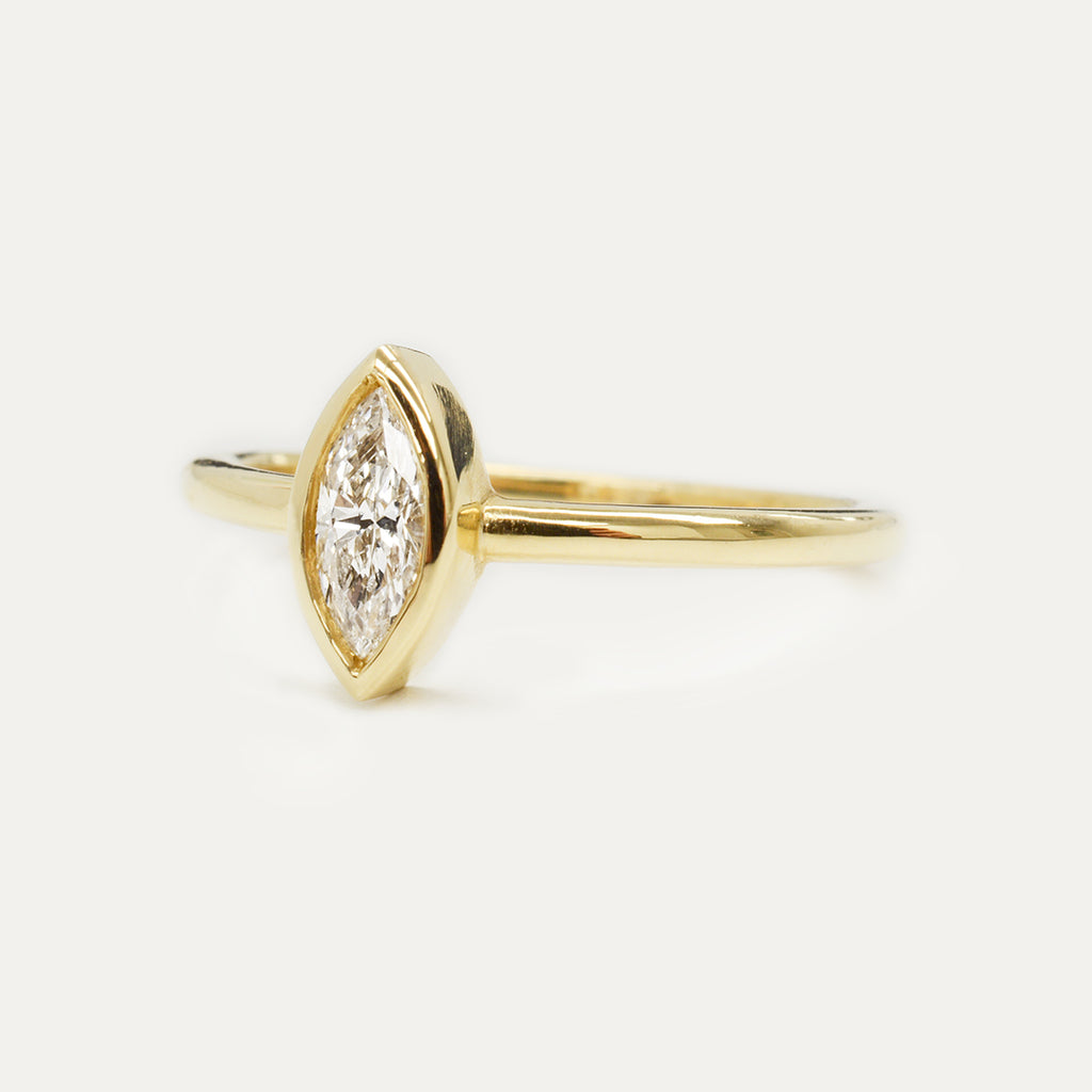Marquise Diamond Ring 0.31CT - Yellow Gold One of a Kind - A Gilded Leaf jewelry