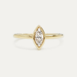 Marquise Diamond Ring 0.34CT - Yellow Gold One of a Kind - A Gilded Leaf jewelry