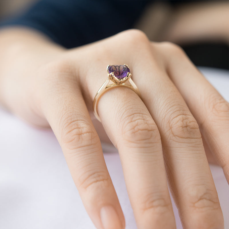 Cushion Amethyst Petal Solitaire Engagement Ring - Sample