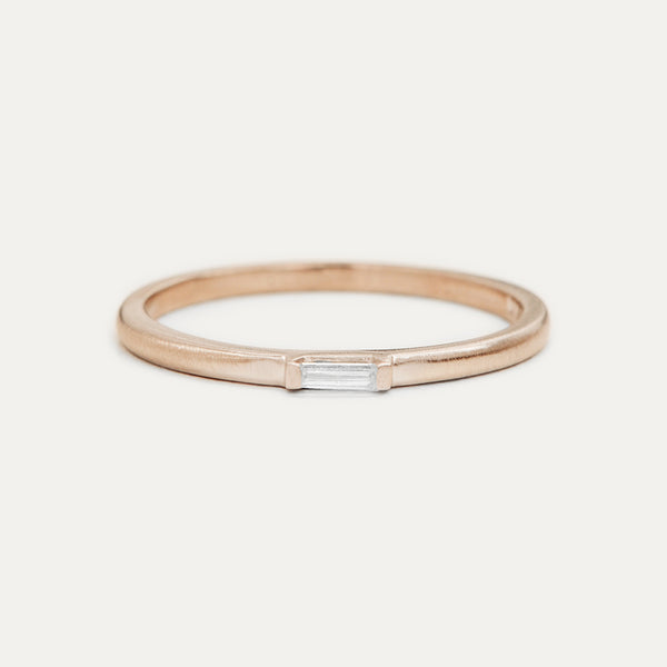 Petite Baguette Diamond Ring - Rose Gold