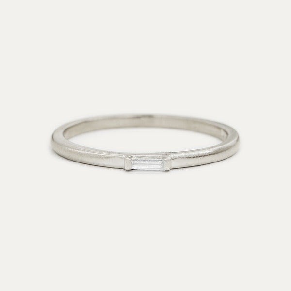 Petite Baguette Diamond Ring - White Gold