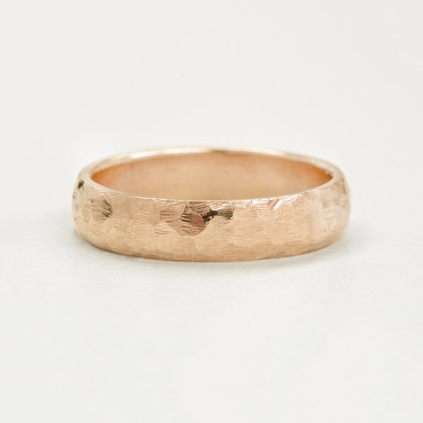 Hammered Half Round Band 5MM - Rose Gold Rings - A Gilded Leaf jewelry