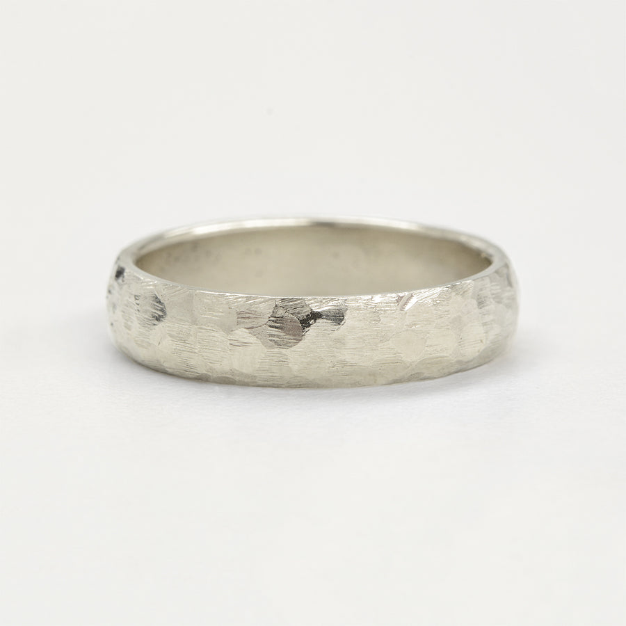 Hammered Half Round Band 5MM - White Gold