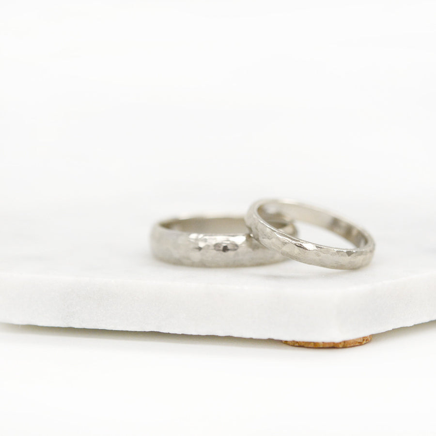 Hammered Half Round Band 5MM - White Gold Rings - A Gilded Leaf jewelry