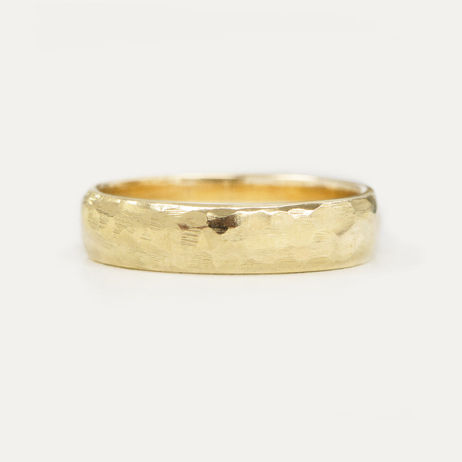 Hammered Half Round Band 5MM - Yellow Gold
